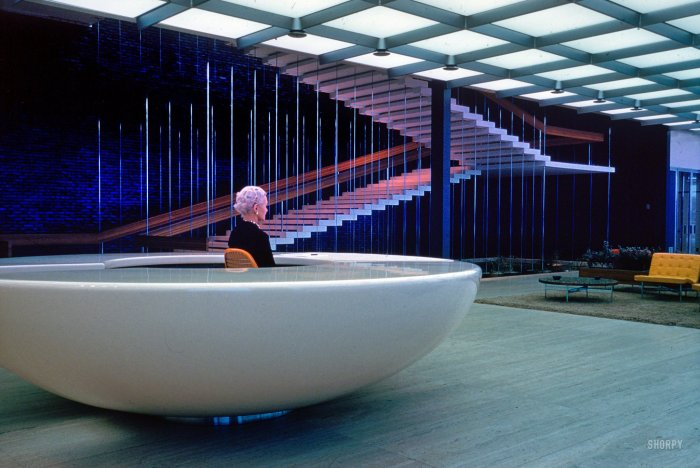 Reception Desk at General Motors Technical Center- 1965. Kodachrome by Balthazar Korab. Eero Saarinen- architect.jpeg