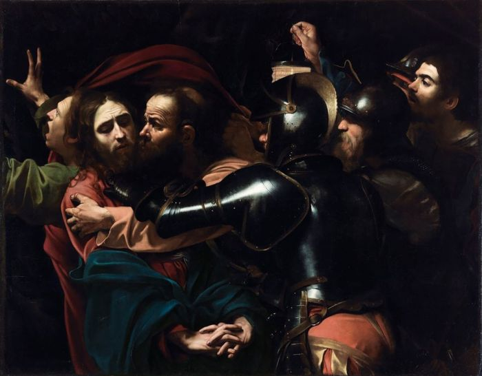 Caravaggio- -The Taking of Christ-- 1602- Oil on canvas- 133-5 x 169-5 cm- National Gallery of Ireland- Dublin.jpg