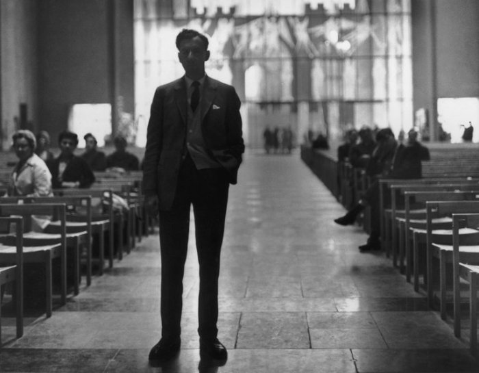 British composer Benjamin Britten (1913 - 1976) in Coventry Cathedral during rehearsals.jpg